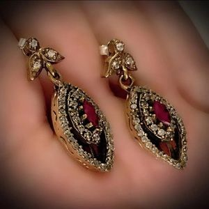 MARQUISE RUBY FINE EARRINGS Solid 925 Silver/Gold
